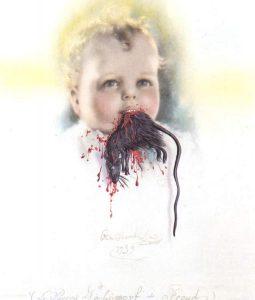 Фройд в полиморфна перверзия или българското дете, ядящо плъх. Салвадор Дали, 1939 г.